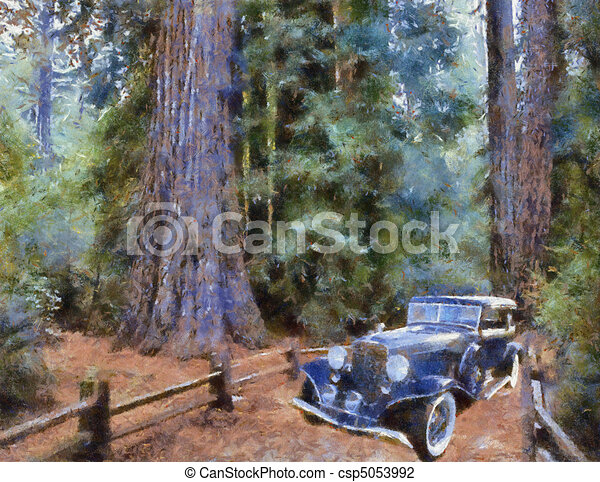 Vintage cars (oil painting) - csp5053992