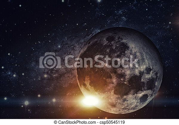 Solar System - Earths Moon. The Moon is Earth\'s only natural satellite. It is one of the largest natural satellites in the Solar System. Elements of this image furnished by NASA.