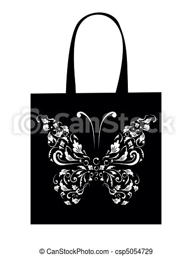 Shopping bag design, vintage butterfly - csp5054729