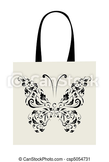Shopping bag design, vintage butterfly - csp5054731