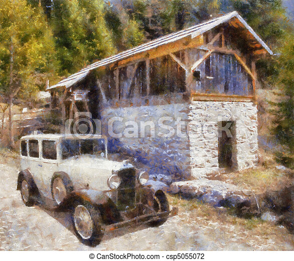 Vintage cars (oil painting) - csp5055072
