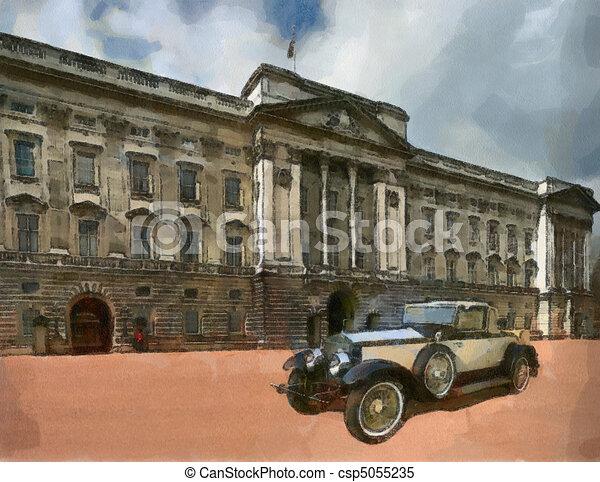 Vintage cars (oil painting) - csp5055235
