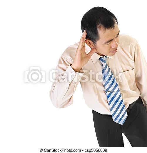 Mature business man listen - csp5056009