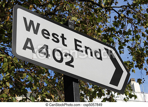 Road sign for the London West End. - csp5057849