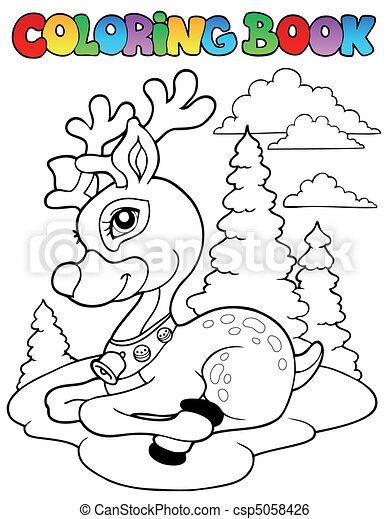 Coloring book Christmas reindeer 1 - csp5058426