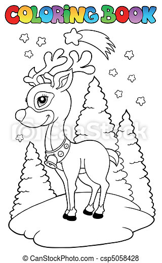 Coloring book Christmas reindeer 2 - csp5058428