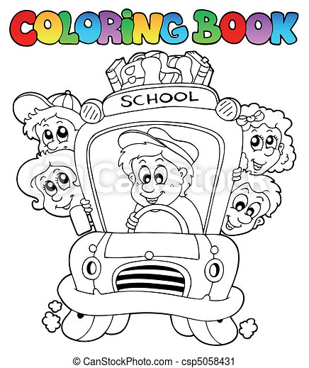 Coloring book with school images 3 - csp5058431