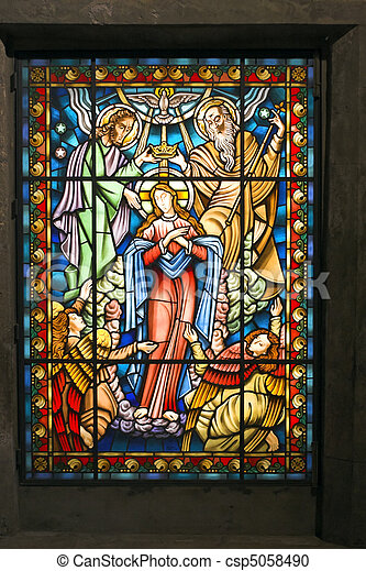 Catholic stained glass window 2 - csp5058490