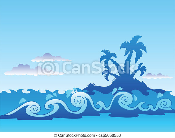 Seascape with palm island and waves - csp5058550