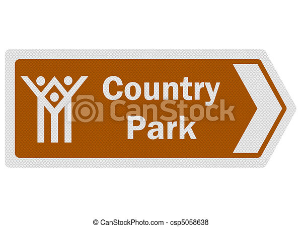 Tourist information series: photo-realistic metallic, reflective 'country park' sign, isolated on white - csp5058638
