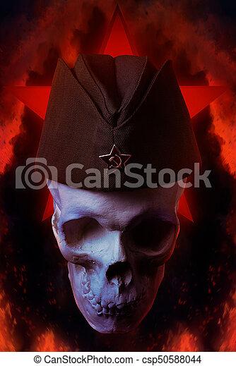 militär, cap., foder, mänsklig skalle - csp50588044
