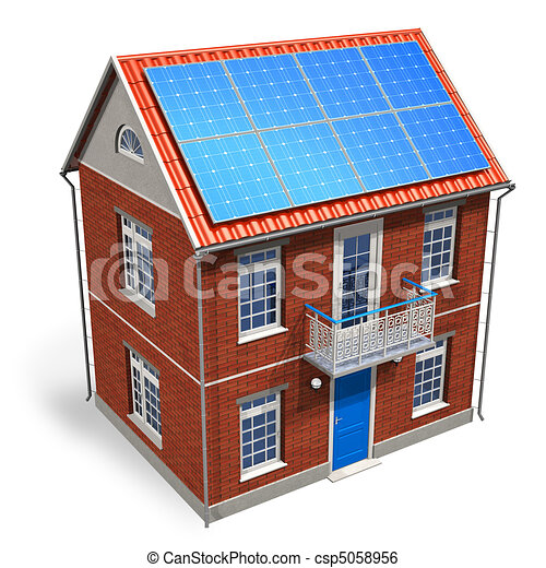 House with solar batteries on the r - csp5058956