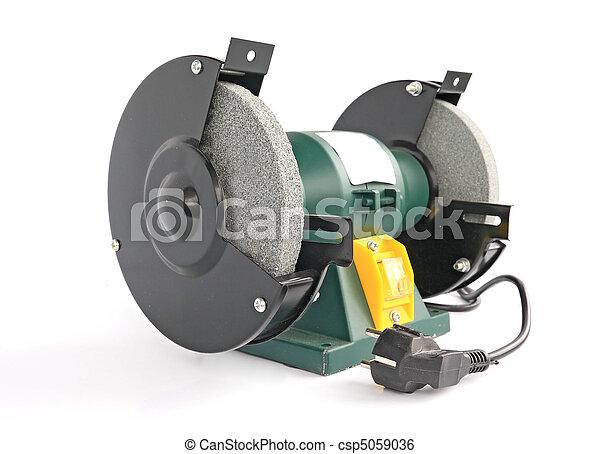 eléctrico, esmeril, en, blanco, Plano de fondo - csp5059036