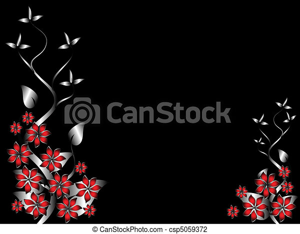 A silver and red  floral background template  - csp5059372