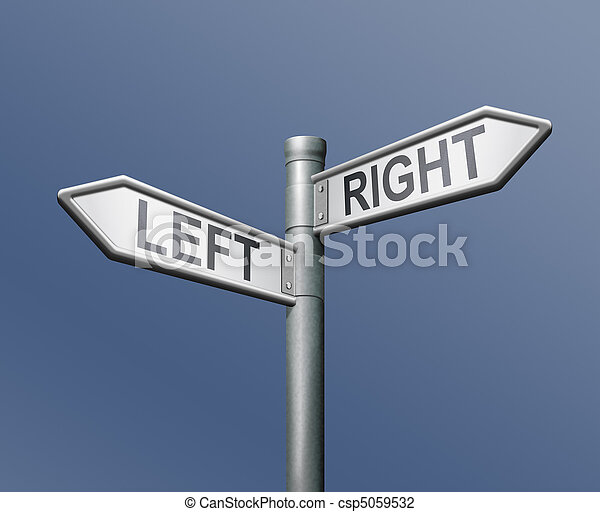 road sign left right equal choice - csp5059532