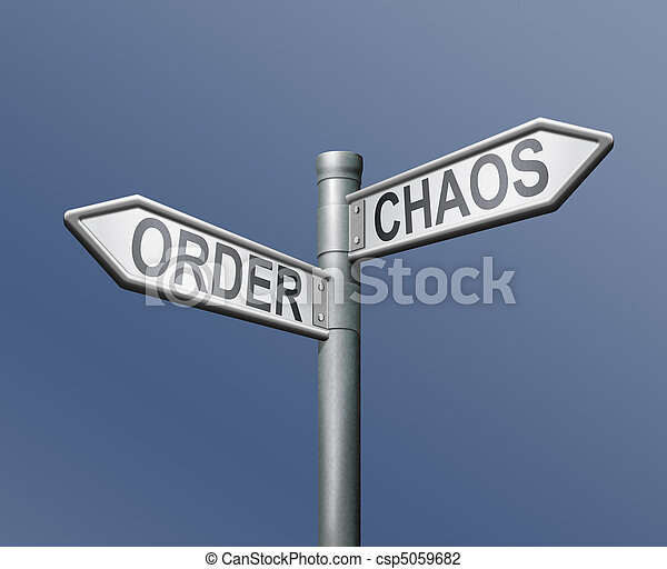road sign order chaos - csp5059682