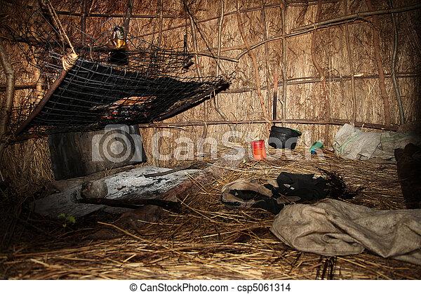Hut Interior - Floating Fishing Village - Uganda, Africa - csp5061314