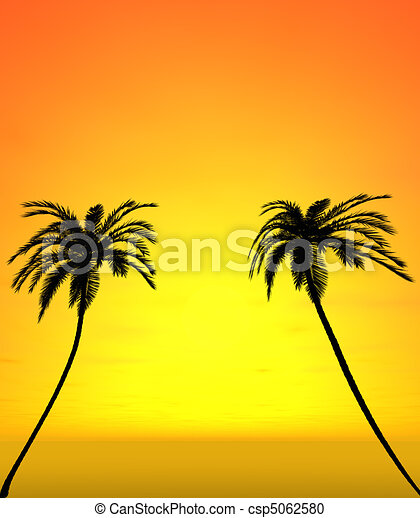 Two coconut trees with sunset view  - csp5062580