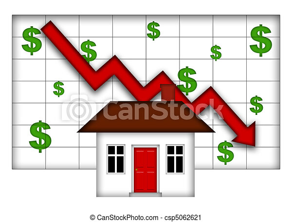 Real Estate Home Values Going Down - csp5062621