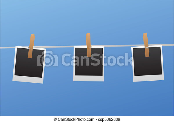 Polaroids on Clothesline - csp5062889
