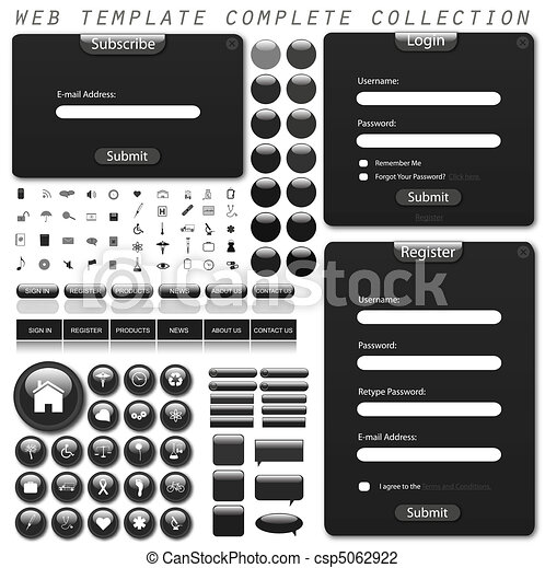 Collection of web template forms, bars, buttons, icons and chat bubbles. - csp5062922