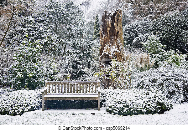 Park bench in snow covered park surrounded by trees and foliage - csp5063214