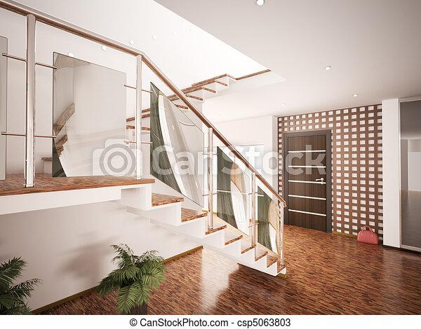 Disegni di interno moderno entrata salone 3d render for Salone moderno
