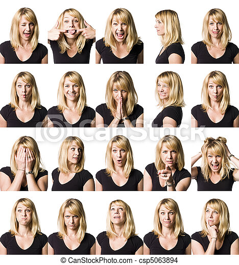 Twenty portrait of a woman with differnet expressions - csp5063894