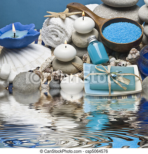 Spa background in blue.