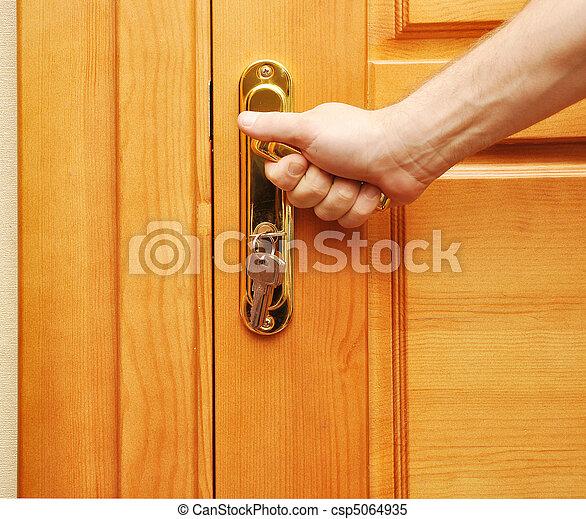 Images de personne porte ouvre main sur a poign e for Porte qui s ouvre lumiere