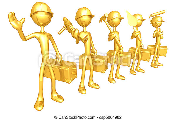 Gold Guy Construction Crew - csp5064982