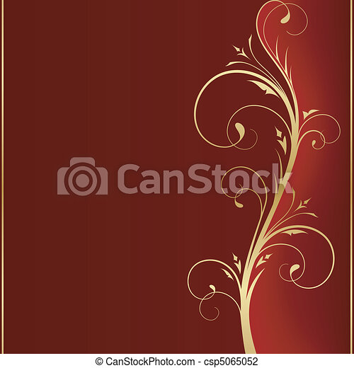 Dark red square background with golden scrolls on the right hand side with space for your message. - csp5065052