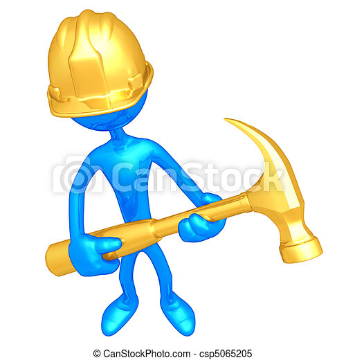 Construction Worker With Hammer  - csp5065205