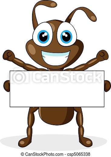 cute brown ant with blank sign - csp5065338