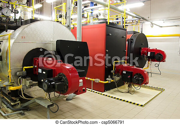 Gas boilers in gas boiler room for steam production - csp5066791
