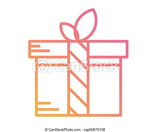 doosje, kleurrijke, cadeau, helling, vrijstaand, vakantie, pictogram - csp50670108