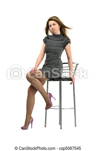 sitting on stool girl - csp5067545