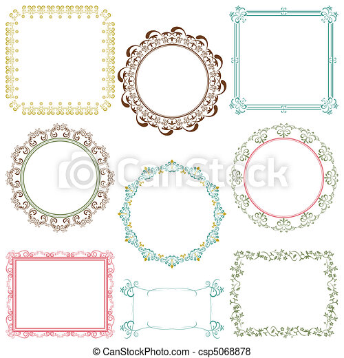 Abstract retro frame elements set - csp5068878