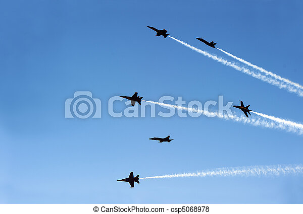 jet planes going off formation in the sky - csp5068978