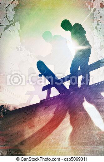 Grungy Skateboarder - csp5069011
