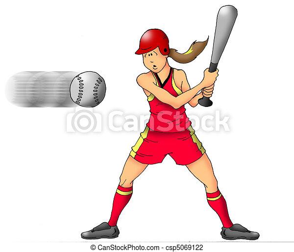 Clip Art of Softball Girl - Image of a girl softball player ...