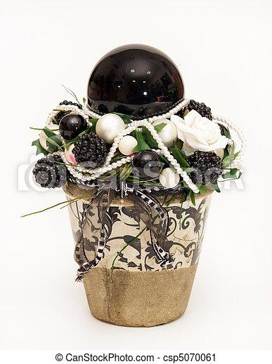 Stock fotografie von weihnachten blumentopf dekoration for Blumentopf dekoration