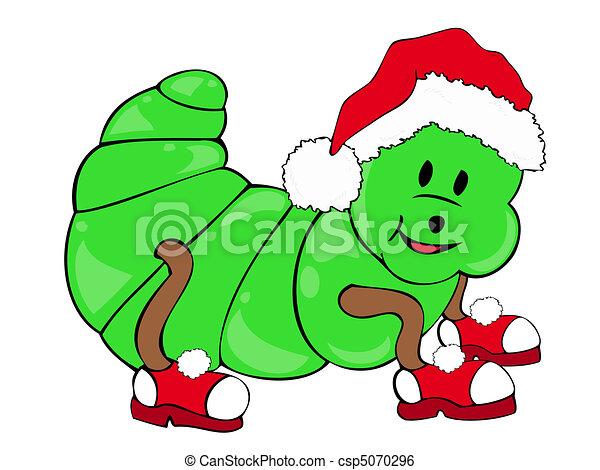 Caterpillar with Santa Claus Hat. - csp5070296