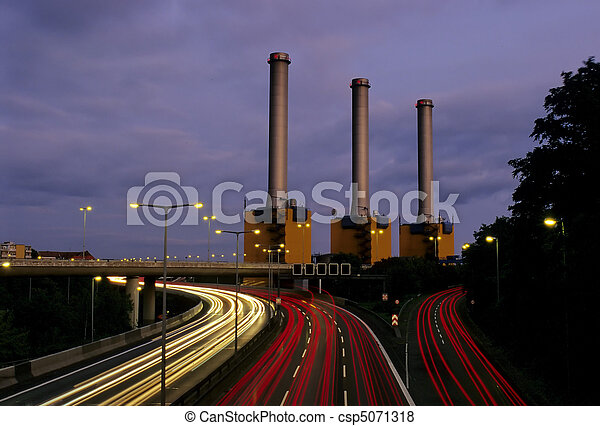 Motorway and Powerstation at night - csp5071318