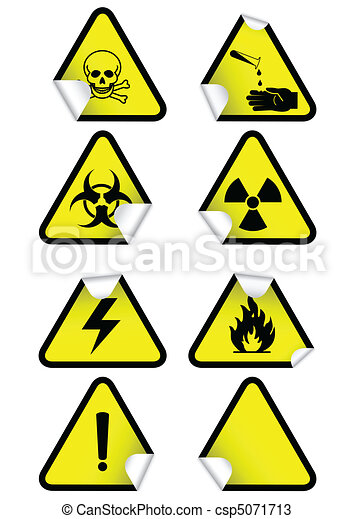 Set of chemical warning signs. - csp5071713