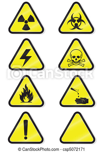 Set of chemical warning signs. - csp5072171