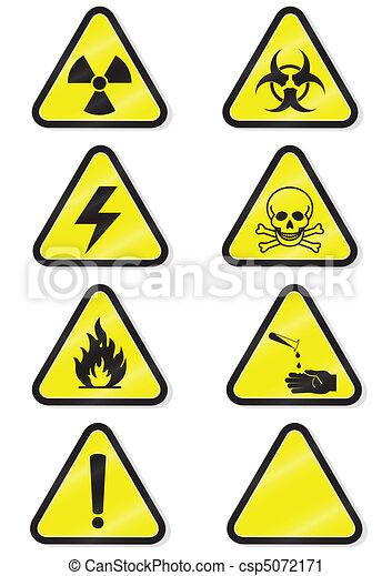 Set of chemical warning signs. - csp5072171