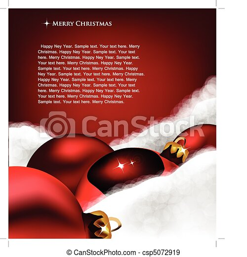 Xmas greeting card. Christmas toy on Cotton wool - csp5072919