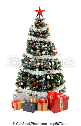 Christmas tree on white with presents - csp5073144