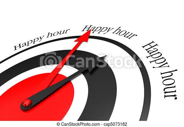 happy hours written around a clock - csp5073182